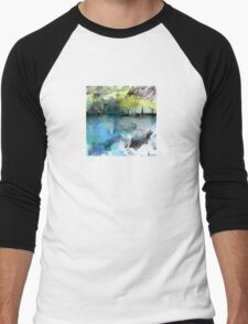 Beautiful Landscape in Ice-Blue and Golden-Yellow Men's Baseball ¾ T-Shirt