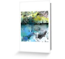 Beautiful Landscape in Ice-Blue and Golden-Yellow Greeting Card