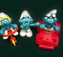 Bicycle & Motoring Smurfs by Bev Pascoe