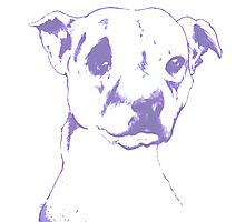 Pooch Portrait ink on canvas with blue filter. Photographic Print