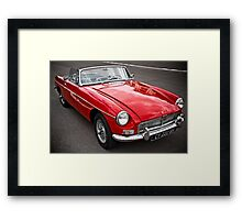 Red convertible MG classic car Framed Print