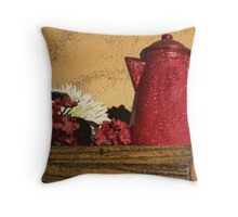 The Red Coffee Pot Throw Pillow