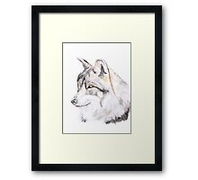 Wolf Portrait Watercolour Illustration Framed Print