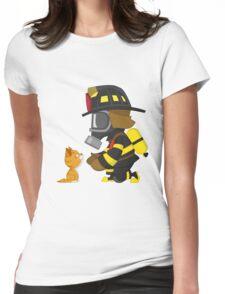 Firefighter rescues kitten Womens Fitted T-Shirt