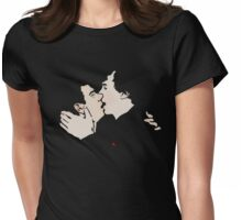 KISSING SHERLOCK AND JOHN / teal Womens Fitted T-Shirt