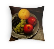 Pewter and Fruit Throw Pillow