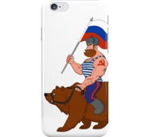 Russian riding a bear. iPhone Case/Skin