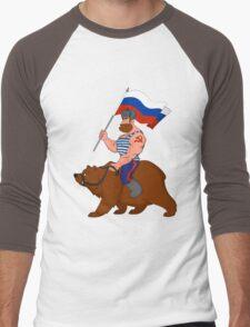 Russian riding a bear. Men's Baseball ¾ T-Shirt