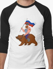 Russian riding a bear. Men's Baseball ¾ T-Shirt