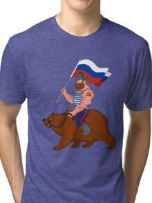 Russian riding a bear. Tri-blend T-Shirt