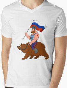 Russian riding a bear. Mens V-Neck T-Shirt