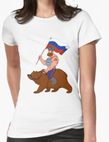 Russian riding a bear. Womens Fitted T-Shirt