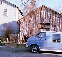 Blue Van and a Broken Shed by carolxo
