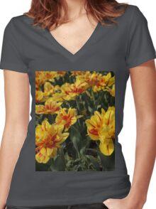 tulips flowers Women's Fitted V-Neck T-Shirt
