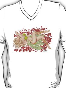 Sexy Elf Fairy in a Bed Of Roses by Al Rio T-Shirt