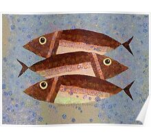 THREE CAREFREE FISH Poster