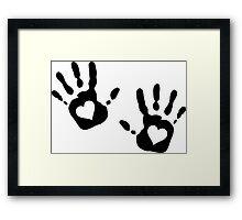 Hand print with Heart Cutout  Framed Print