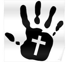 Handprint Cross Cutout Poster
