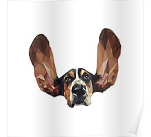 Basset Hound Low Poly Poster