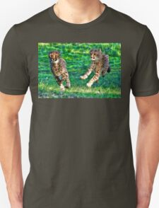 Cheetah Siblings Play And Chase Unisex T-Shirt