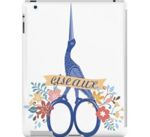 Pretty blue bird stork sewing scissors French ciseaux iPad Case/Skin