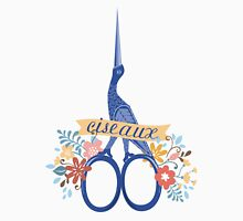 Pretty blue bird stork sewing scissors French ciseaux Womens Fitted T-Shirt