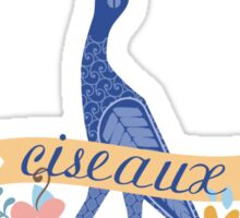Pretty blue bird stork sewing scissors French ciseaux Sticker