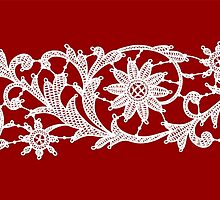 Red Lace, Seamless Pattern, Flowers. by Laces