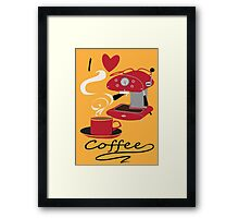 I Love Coffee Retro Style Poster  Framed Print