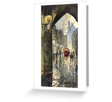 Prague Mostecka street Old Tram Greeting Card