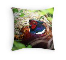 Pheasant In Hiding Throw Pillow