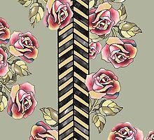 Rose Garden Floral Pattern Gray and Yellow by veggiemuse