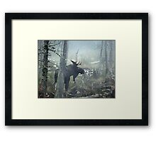 Bull Moose In Morning Mist Framed Print