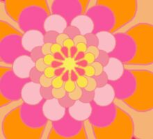 Orange Floral Fun Pattern Sticker
