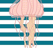 Jellyfish Blue White Bold Stripes by DoucetteDesigns