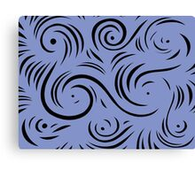 Maze Abstract Expression Blue Black Canvas Print