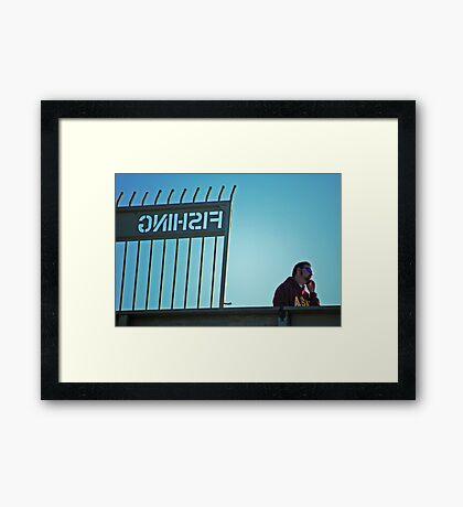 Cell phone fishing Framed Print