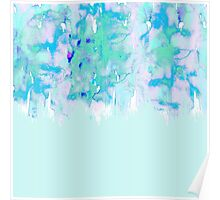 Girly Pastel Teal and Blue Watercolor Paint Drips Poster