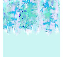 Girly Pastel Teal and Blue Watercolor Paint Drips Photographic Print