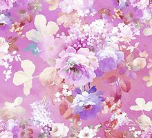 Girly pink white watercolor vintage floral pattern by Maria Fernandes