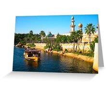 Beautiful palace with palm and ship on river Greeting Card