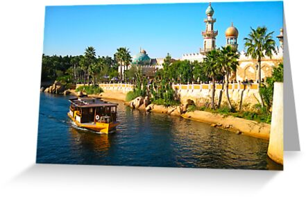Beautiful palace with palm and ship on river by komashyaru