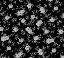 Chic vintage black and white floral pattern by Maria Fernandes