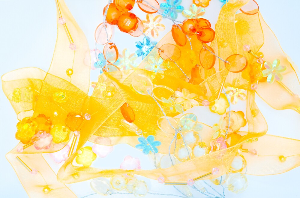 Colorful composition of ribbon?plastic and glasses frlowers by komashyaru