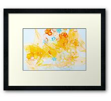Colorful composition of ribbon?plastic and glasses frlowers Framed Print