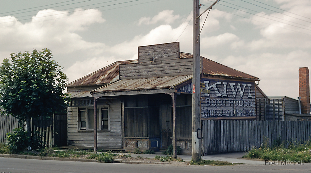 Boot Repair shop Sydney Road North Coburg 1958 by Fred Mitchell