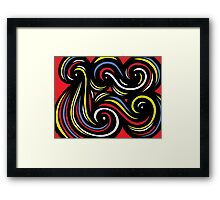 Deville Abstract Expression Yellow Red Blue Framed Print