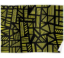 Lucear Abstract Expression Yellow Black Poster