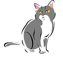 Attentive Gray and White Cat by pdgraphics