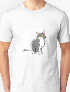 Attentive Gray and White Cat T-Shirt